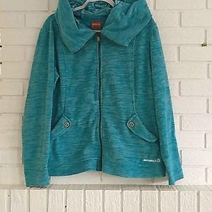 Merrell teal fuzzy cowl neck zipup hoodie